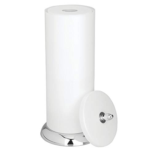 mDesign Plastic Free Standing Toilet Paper Holder Canister with Storage for 3 Extra Rolls of Toilet Tissue - for Bathroom/Powder Room - Holds Mega Rolls - Pearl White/Chrome