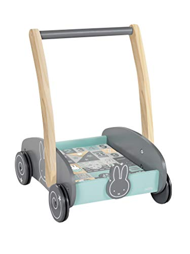 roba Schiebewagen miffy mit 35-teiligem Bauklötze-Set, Holz natur und lackiert, Griffhöhe: 45cm, BxL: 23x31cm, als Puppenwagen nutzbar