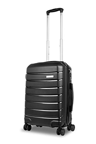 Roma Durable Hard Shell Luggage 20 Inch Cabin Case (Black) 55cm, 4 Wheels, Carry On Suitcase with 5 Year Warranty