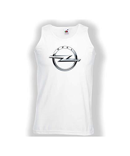 Weste Vest Tank OPEL Logo Herren CAR Auto Tee TOP Black White Present Gift Geschenk (XL, White)