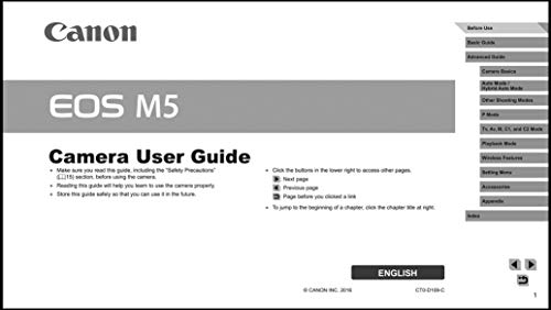Canon EOS M5 Digital Camera User's Instruction Manual Book, Advanced User Guide