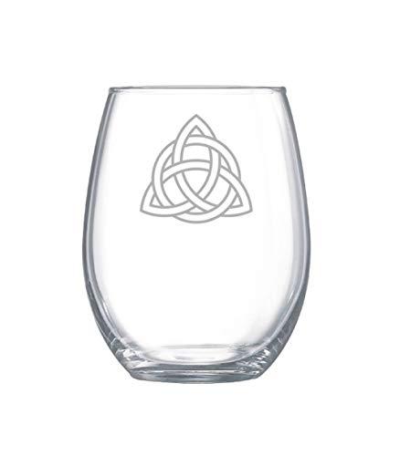 17Oz Stemless Wine Glass Celtic Trinity Knot Glassware Triquetra Wine Glasses Holy Trinity Glassware Irish Glassware