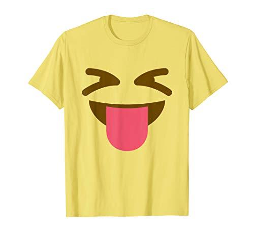 Zunge heraus lächelndes Emoji Halloween Gruppenkostüm T-Shirt