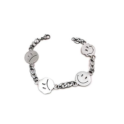 Titanium Steel Happy Smiley Crying Face Charm Bracelet Fashion Jewelry Unisex -Flat Chain