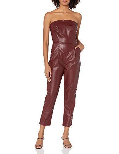 KENDALL + KYLIE Women's Vegan Leather Strapless Jumpsuit, Bordo, 3X