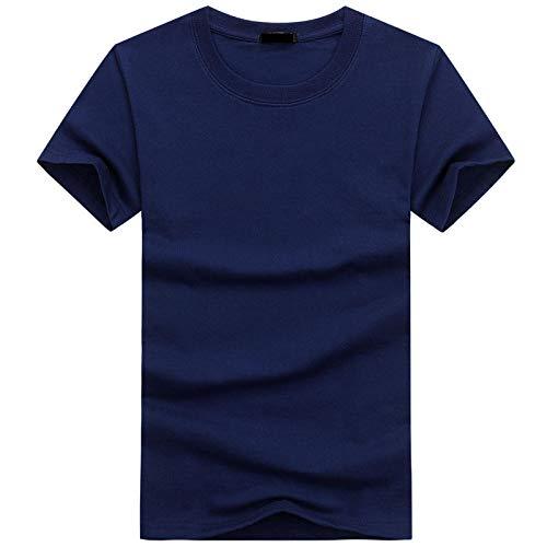 Qier Tshirt Herren Kurzarm-Oberteile, Lässiges Basic-Baumwoll-T-Shirt, Einfarbige T-Shirts, 6 Stück/Set, Blau, XXL