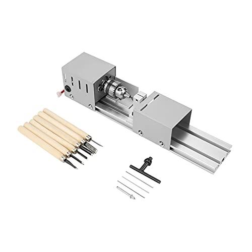 Sxiocta Mini torno, máquina de pulido de cuentas, pulido de joyas, lijado, con diseño de aluminio, taladro de pulido silencioso, herramienta giratoria, adecuada para trabajos de madera y artesanía