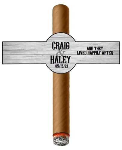 Fees free!! Set of 16 Max 51% OFF Personalized Cigar Rustic Wedding Labels Wood -