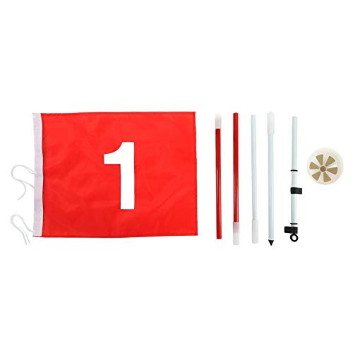 T best 5 Sections Golf Flagstick, Removable Golf Putting Green Flagpole and Hole Cup Set Backyard Practice Golf Hole Pole Cup Flag Stick with Red Flag