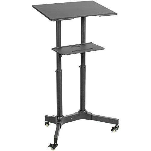 VIVO Steel Mobile 24 inch Height Adjustable Multi-Purpose Rolling Podium, Lectern, and Laptop Workstation Desk with Storage Tray, Black, CART-V03E