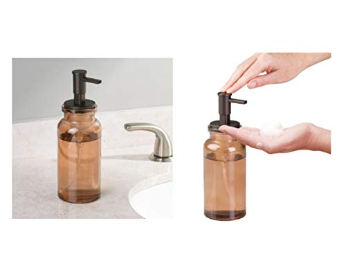 Price comparison product image iDesign Glass Westport Foaming Soap Dispenser Pump for Kitchen / Bathroom,  Sand / Bronze