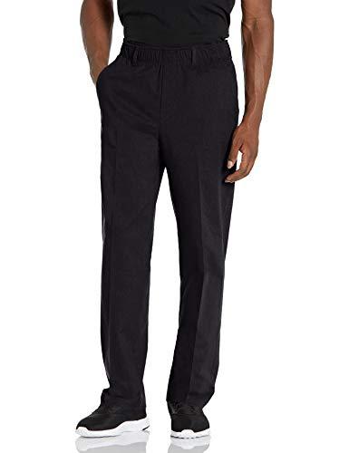 Haggar Men's Free No Iron Classic Fit Flat Front Full Elastic Pant, Black, 38 X 29
