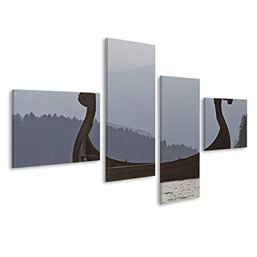 Cuadro Cuadros Barcos Vikingos en Walchensee contra la luz Impresión sobre lienzo - Formato Grande - Cuadros modernos EDR