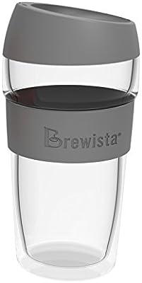 Brewista BDWKC450ML-GR Smart Double Wall Travel Mug 450ml-Gray, 450ml, Grey