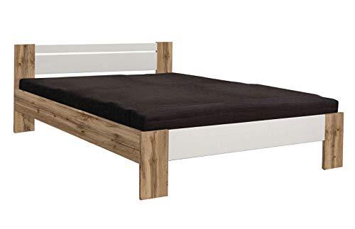 AVANTI TRENDSTORE - Pinto - Fusto letto francese in legno laminato, materasso e doghe NON comprese, colore quercia selvaggia / bianco. Dimensioni LAP 145x68x204 cm