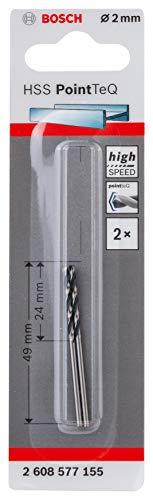 Bosch Professional 2608577155 HSS PointTeQ (2 x 24 x 49 mm) - Set da 2 Pezzi di Punte Elicoidali per Trapano per Metallo, Acciaio, Fusione o Plastica, Grigio (Argento), Ø 2 mm