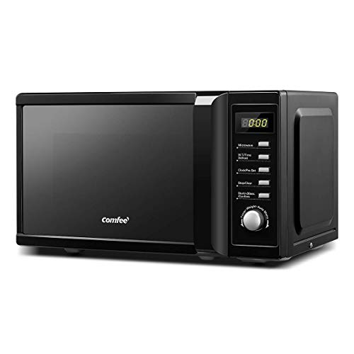 COMFEE' 700w 20L Microwave Oven with Mirror Surface, 8 Cooking Presets, Express Cook, 5 Power Levels, Quick Defrost – Modern Black - CM-M20PWF(BK)