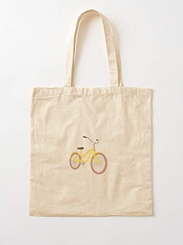 Saltandlaceintimates Bike Yellow Pastel Beachy Beach Cruiser Summer Beachcruiser Canvas Tote Umhängetasche Stylish Shopping Casual Bag Faltbare Reisetasche