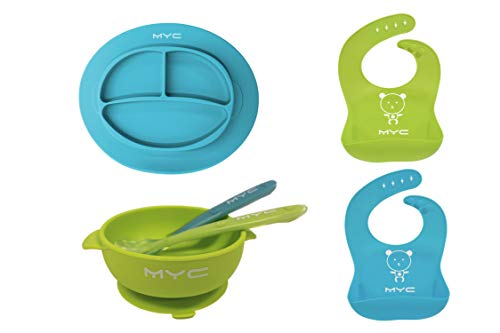 MYC Babystyle 6pc Baby Feeding Set, Toddler Bowl and Plate Set, 2 Silicone Bibs+ 2 Spoons+ 1 Suction Plate+ 1 Suction Bowl, Baby Dinnerware Set (Blue+Green)