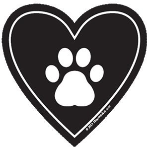 Dog Sticker Paw Print in Heart Shaped Decal | Apply to Mug Phone Laptop Water Bottle Decal Cooler Bumper RV | Labrador Retriever German Shepard Bulldog Beagle Poodle Leash Treat Pet Alert Sign Cat