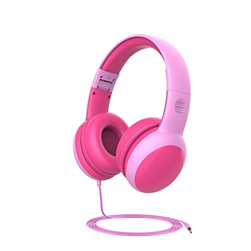 SFBBBO headset Kids Headphones With Limited Volume, Children Headphone With Decorative Ears Ear, For Boys And Wired Headset Pink