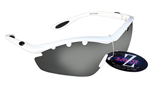 Rayzor profesionales ligeros UV400Blanco Deportes Wrap excursionismo Gafas de sol, con una pieza 1con ventilación ahumado espejo antideslumbrante lente