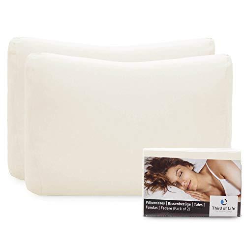 Hochwertiger Kissenbezug Doppelpack (2er Set, Elfenbein-Weiß uni) für Nackenstützkissen, speziell MATAR – Double Jersey, guter Fit, bügelfrei, 3 Jahre Garantie, Kissenhülle mit Reißverschluss