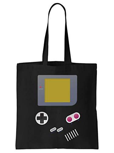 clothinx Handheld Konsole im Vintage 90er Jahre Retro Print | Gamer | Nerd | Geek | Computer Freak | LAN-Party | Stoff-Tasche Schwarz