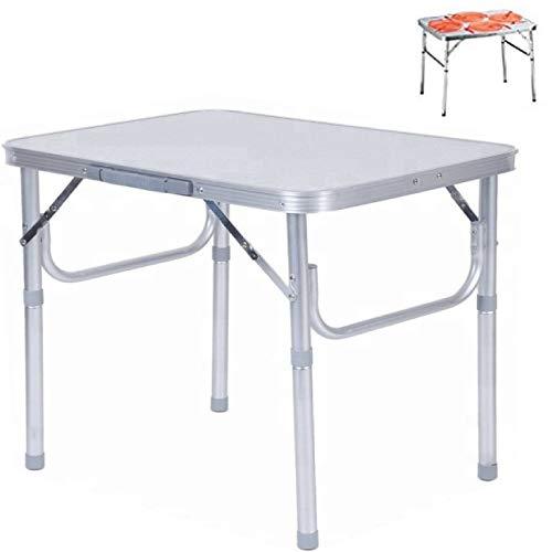 Smartweb Alu Campingtisch klappbar faltbar 75 x 55cm nur 3.2 Kg. Klapptisch Gartentisch Camping Tisch Reisetisch Abstelltisch Silber/Weiß