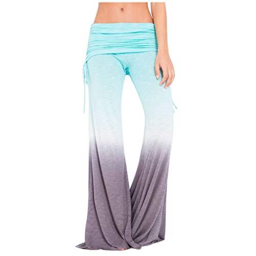 Review Ruched Waist Pants - Tie Dye Yoga Pants Loose Wide Leg Pants Color Block Trousers Leisure Lon...
