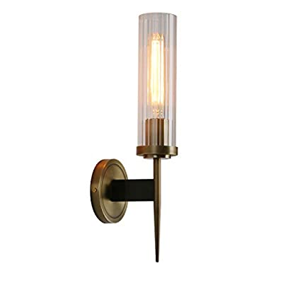 "Permo Vintage Bronze Antique Single Wall Sconce Lighting Fixture with 2.8"" Cylindrical Clear Glass Shade"
