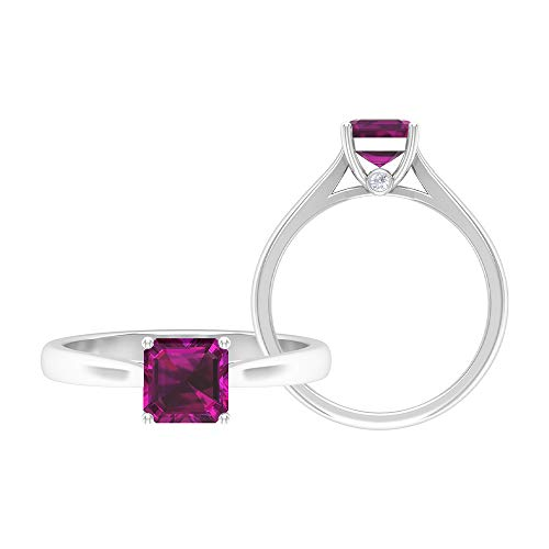 June Birthstone - 6.00 MM Asscher Cut Rhodolite Ring, D-VSSI Moissanite Ring, Solitaire Engagement Ring, Gold Jewelry (AAA Quality), 14K White Gold, Size:UK N