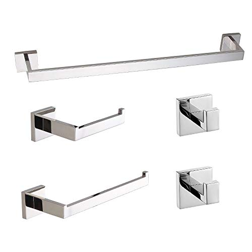 USHOWER Polished Chrome Bathroom Hardware Set, 24-Inch Modern Style Towel Bar Set, SUS304 Stainless Steel Bathroom Accessories, 5-Piece
