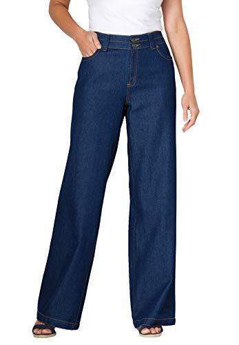 Woman Within Women's Plus Size Wide Leg Cotton Jean - 18 W, Indigo