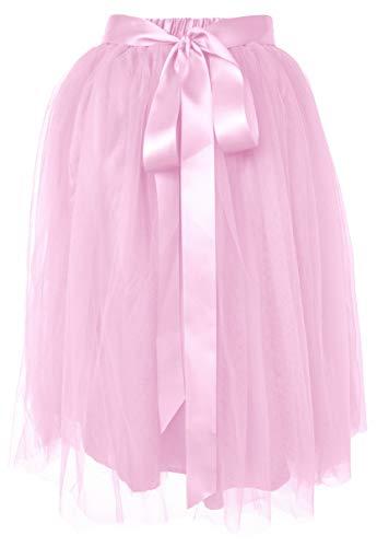 Dancina Women's Knee Length Tutu A Line Layered Tulle Skirt Regular (Size 2-18) Pink