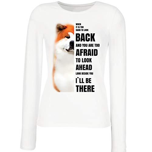 lepni.me Camisetas de Manga Larga para Mujer Will be There for You Motivational Akita Inu Dog Lover Gift (M Blanco Multicolor)