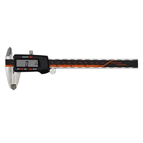 ZKAIAI Exactitud Acero Inoxidable 150 mm Fracción calibrador Digital/MM/Pulgadas de Alta precisión LCD Vernier de medición Herramientas de medidores (Color : A Caliper)