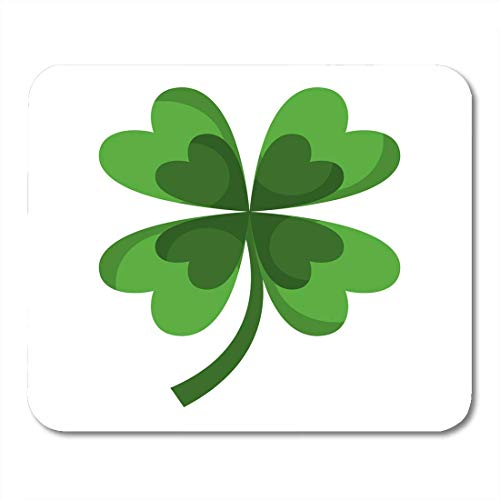 Mauspads Celtic Green Leaf Vier Blätter Klee Glück Fortune White Celebration Culture Mauspad für Notebooks, Desktop-Computer Mausmatten, Büromaterial