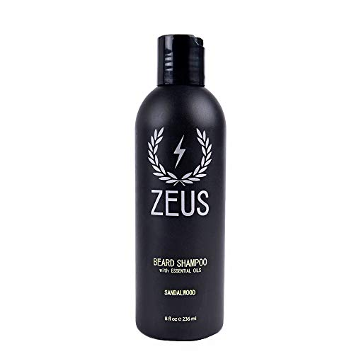 ZEUS Beard Shampoo and Wash for Men - 8oz - Beard Wash with Natural Ingredients (Scent: Sandalwood)