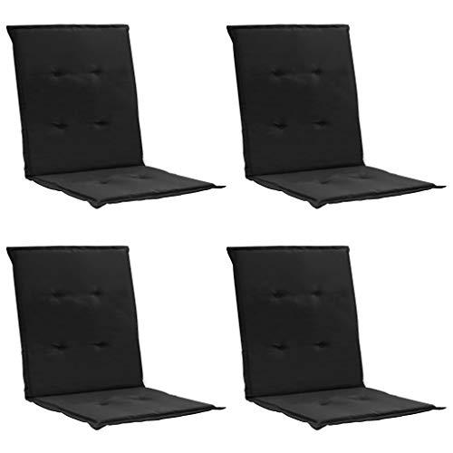 Festnight Coussins de Chaise de Jardin 4 pcs Noir 100 x 50 x 3 cm