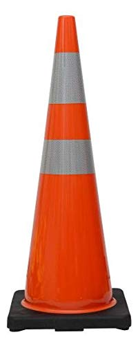 """(6 Cones) CJ Safety 36"""" Orange PVC Traffic Safety Cones with Black Base & 6"""" + 4"""" Reflective Collars (Set of 6)"""