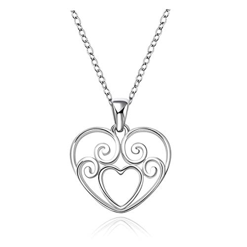 Petrichori Regalos encantadores del Collar Plateado del circón en Forma de corazón de la Moda para el Partido