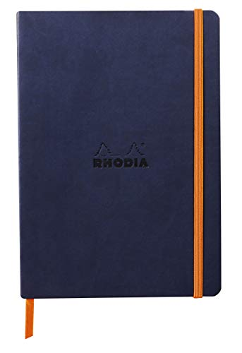 RHODIA 117444C - Cuaderno de notas A5, 160 páginas, papel Clairefontaine marfil 90 g/m2, cierre elástico, tapa de piel sintética, rodiada, color marfil