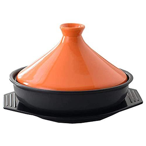 LXTIN Marokkanischer Tajin 23cm Keramik Taji Topf Slow Cooker Rauchfreie Antihaftpfanne Geeignet für die meisten Kochgeschirr, Weiß