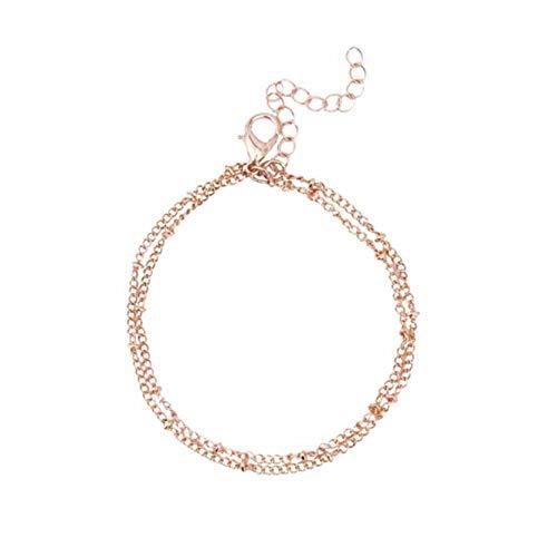 ZSDN Simple Minimalist Double Layered Beach Charm Bead Chain Adjustable Ankle Bracelet Beach Sandal Barefoot Anklet Bracelet Foot Jewelry