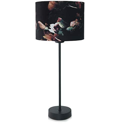 Tischlampe Vintage Hortensie Velours Tischleuchte Design-Lampe Schwarz Bunt von Light and Living klassisch
