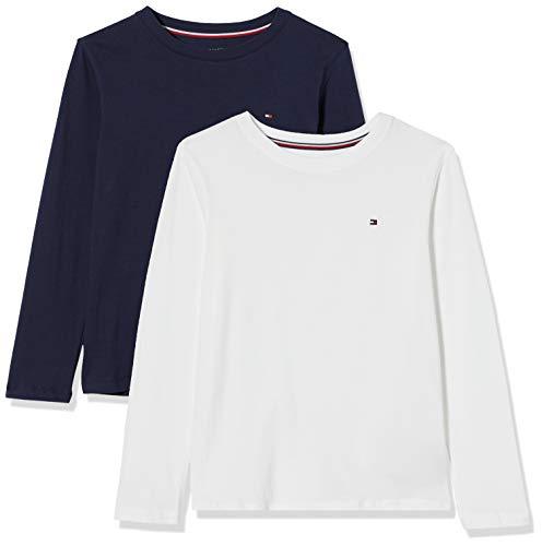 Tommy Hilfiger Jungen 2p Cn Tee Ls Schlafanzugoberteil, Weiß (White/Navy Blazer), 14-16 Jahre
