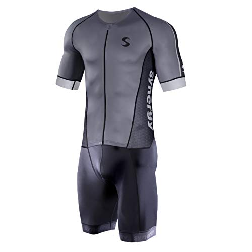 Synergy Men's Pro Short Sleeve Triathlon Trisuit (Gunmetal 21, X-Large)