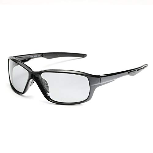 NSGJUYT Objetivos, Deporte Que Cambia de Color Fotocromáticas polarizó los vidrios de la Bicicleta MTB de Montar a Caballo Pesca Ciclismo Gafas de Sol al Aire Libre Equipo (Color : Black Frame Slice)