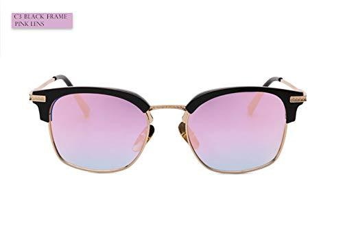 WDDYYBF zonnebril, sportieve vrouwen zonnebril graveren brilmontuur met spiegel zonnebril vrouwen unisex bril Uv400 zwart roze